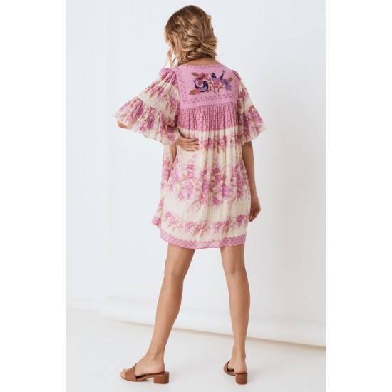 THE LILAC COCO LEI FLUTTER SLEEVE TUNIC