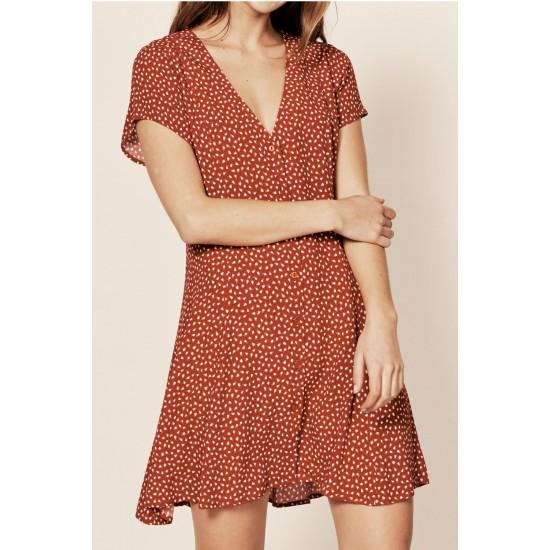 RED/WHITE MILLA MINI TULIP DRESS
