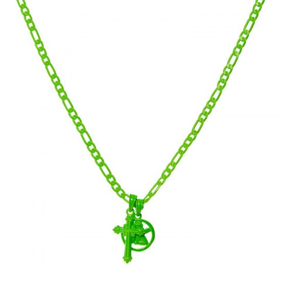 THE NEON GREEN RAINBOW DOUBLE CHARM NECKLACE