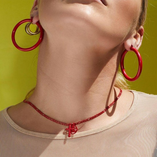 THE RED RAINBOW DOUBLE CHARM NECKLACE