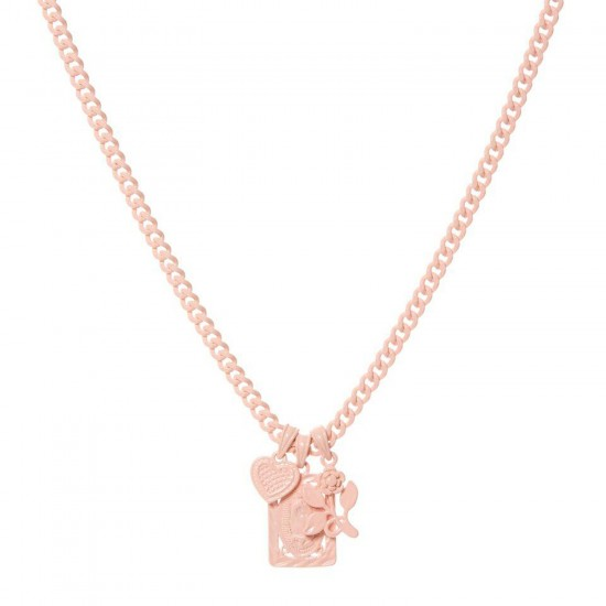 THE BABY PINK RAINBOW TRIPLE CHARM NECKLACE