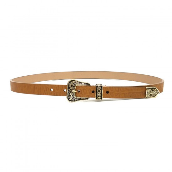 THE HONEY GOLD LASSO CROCODILE WAIST BELT