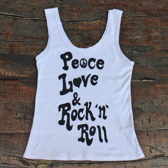 PEACE, LOVE & ROCK 'N  ROLL LACE TANK