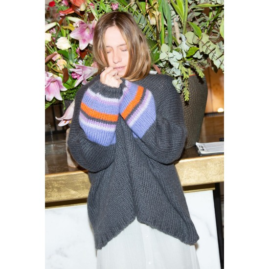 THE EMA STRIPED PUFFY OVERSIZE CARDIGAN