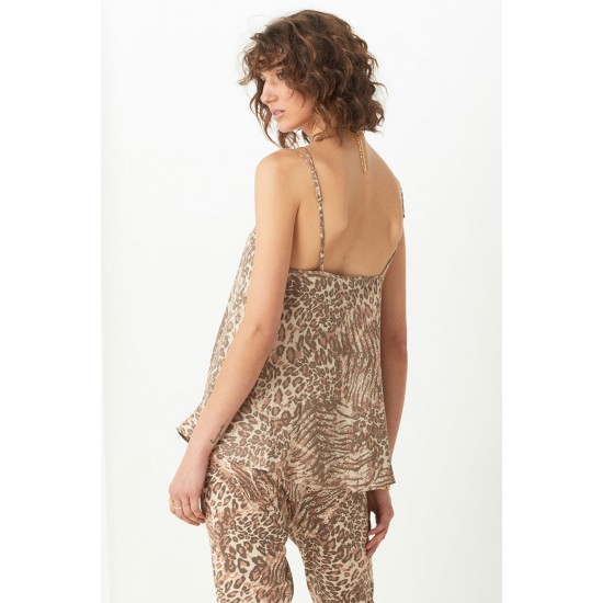 THE ADA LEOPARD PRINTED LINEN CAMI