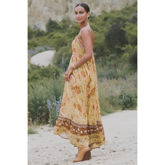 THE MYSTIC SUNFLOWER STRAPPY MAXI DRESS