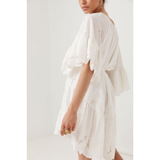 THE CAPULET BRODERIE ANGLAISE FRILL SMOCK DRESS